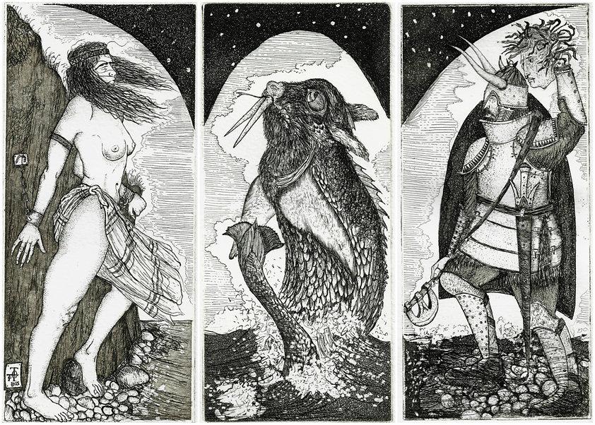 Andromedae, Cetus, Perseus, etchings pantazis tselios