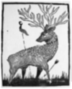 the ceryneian hind, wood engraving, pantazis
