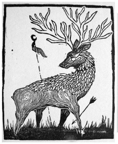the ceryneian hind, wood engraving, pantazis