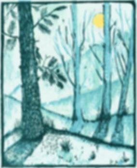 winter landscape woodcut pantazi tselios