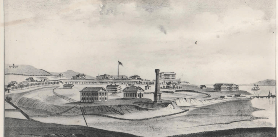 A view of the Benicia Arsenal's Jefferson Ridge area in its military days, including the Officers' Row buildings and ridgetop open spaces that still exist today.