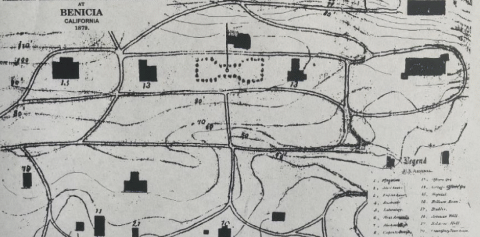 A site plan showing the layout of Officers' Row, the assembly area with flagpole, and other Arsenal buildings in 1879.