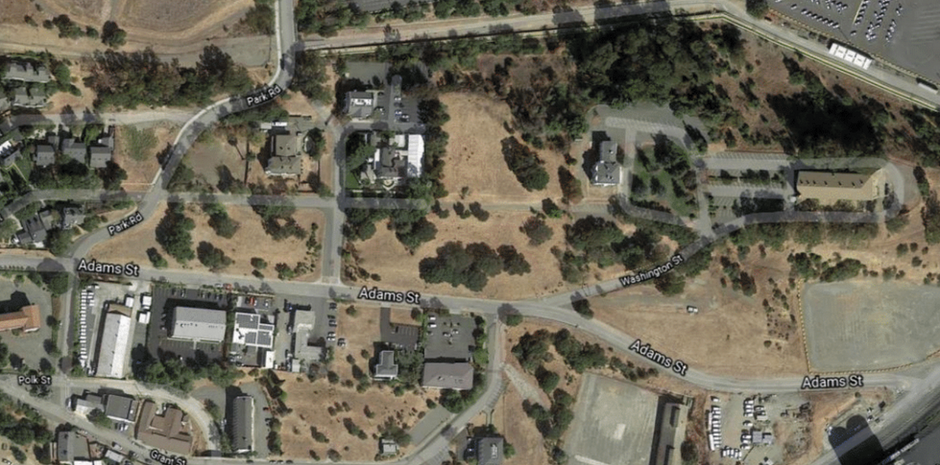 A present-day aerial view of the Officers' Row buildings and open spaces—a landscape virtually unchanged since the mid-19th century.