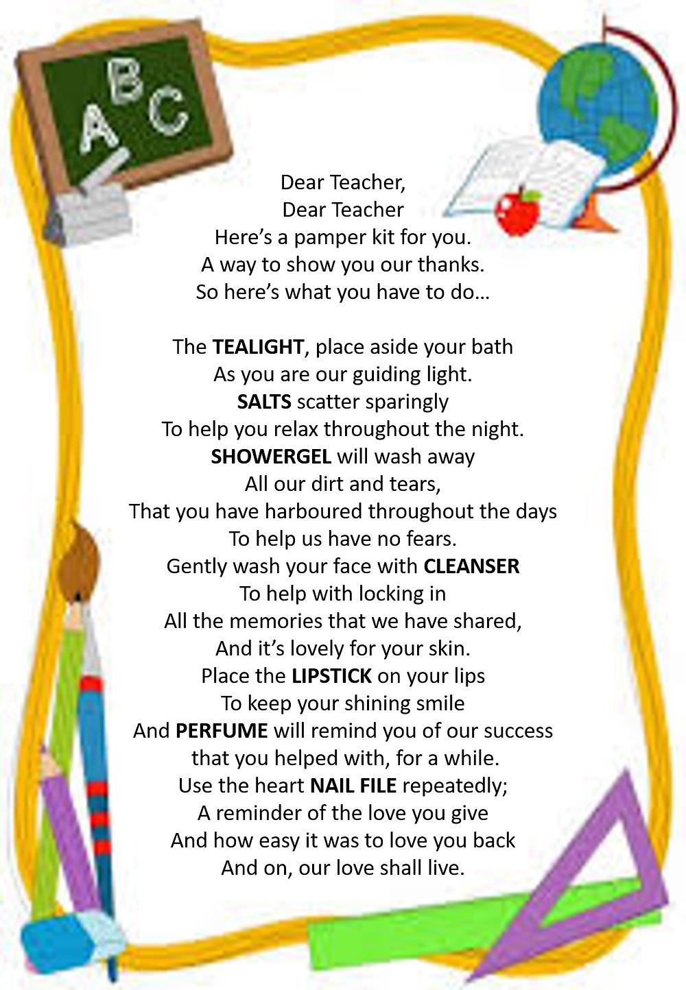 Avon Teacher Pamper Cone Gift Poem