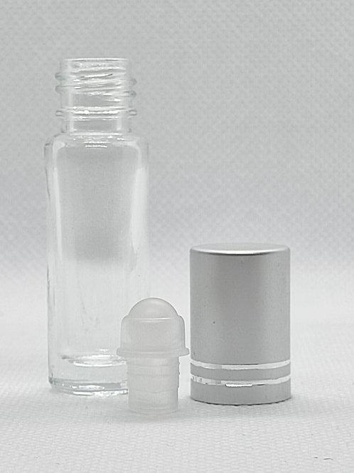 Kit 6 Roll on vidro com tampa prata  5 mls Aromaterapia