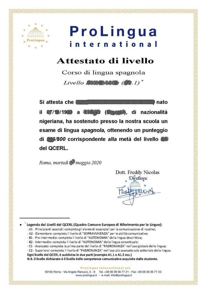 Certificazione di livello