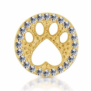 14k Yellow Diamond Paw