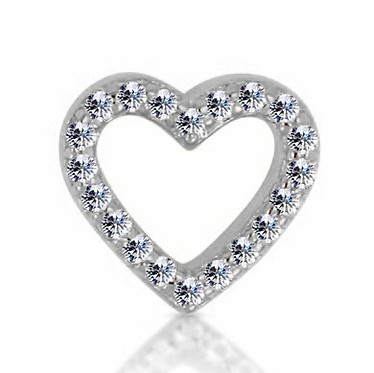 14k White Diamond Open Heart