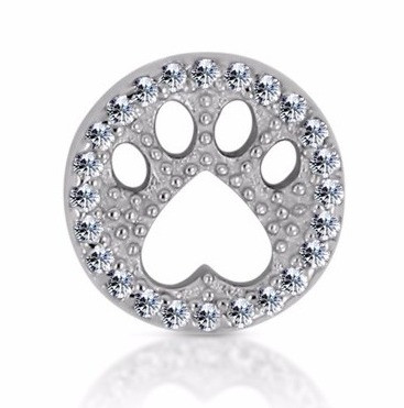 14k White Diamond Paw