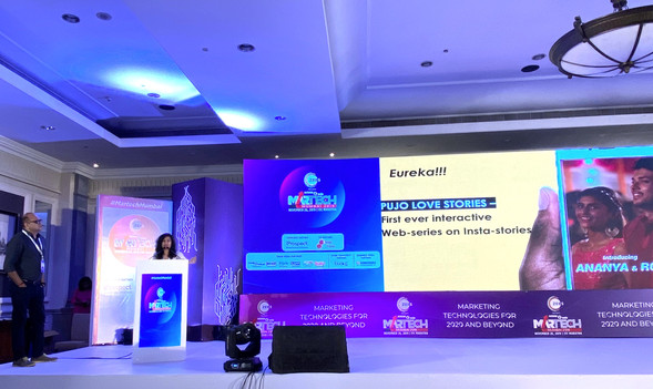 """Presenting our award winning case study """"Pujo Love Story"""" at Zee5 #Martech India event."""