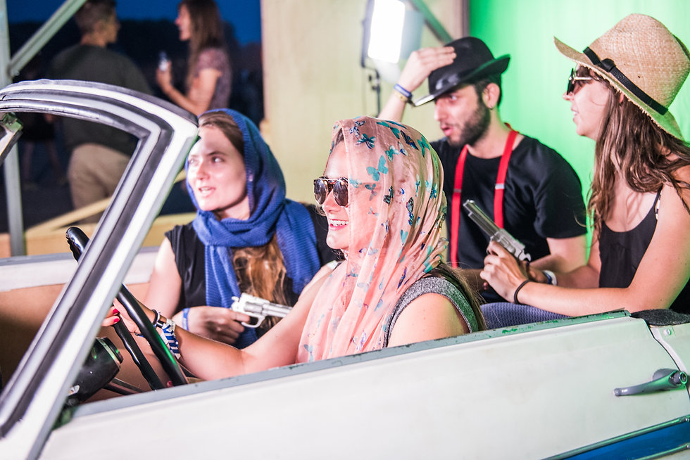 Movie experience and digital activation for Movistar Spain. Half car chroma activation film festival.
