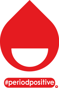 A red blood drop containing a smiley face and the hashtag #periodpositive underneath