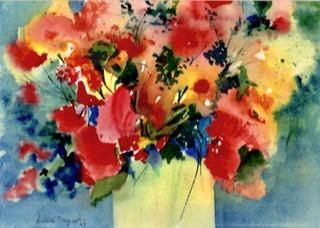 Bouquet au pot jaune