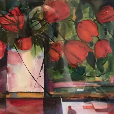 Bouquet rouge orangé