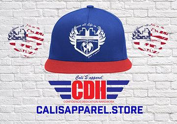 Cali's apparel Logo Royal/Red/White Snap back