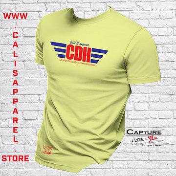 Cali's apparel CDH Pastel Yellow/Red/White Unisex Crew neck Tee