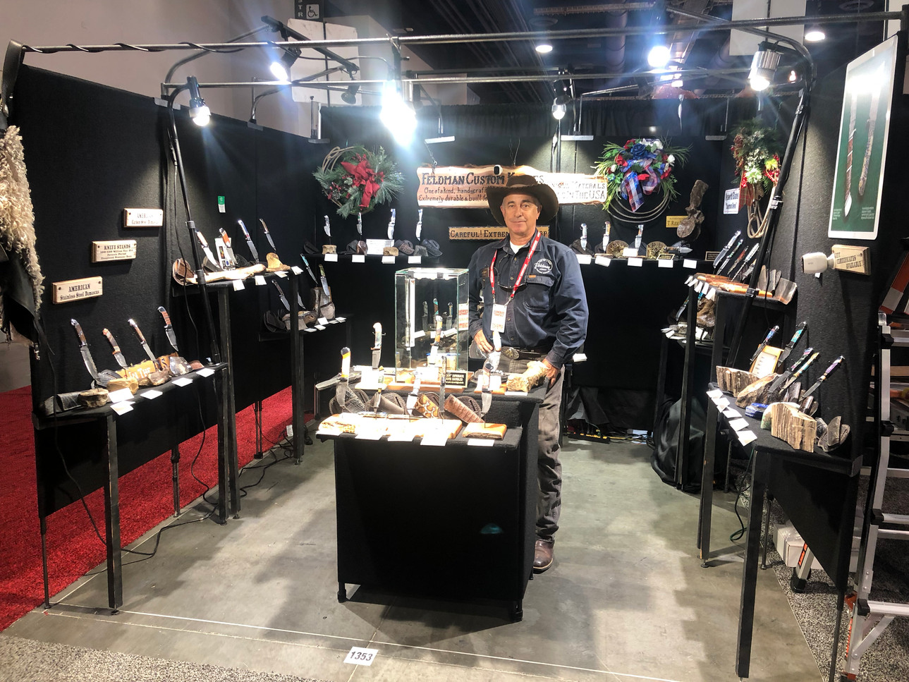 Feldman Custom Knives booth at Cowboy Christmas 2018 Las Vegas Convention