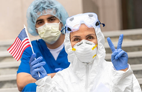 healthcare workers, american flag