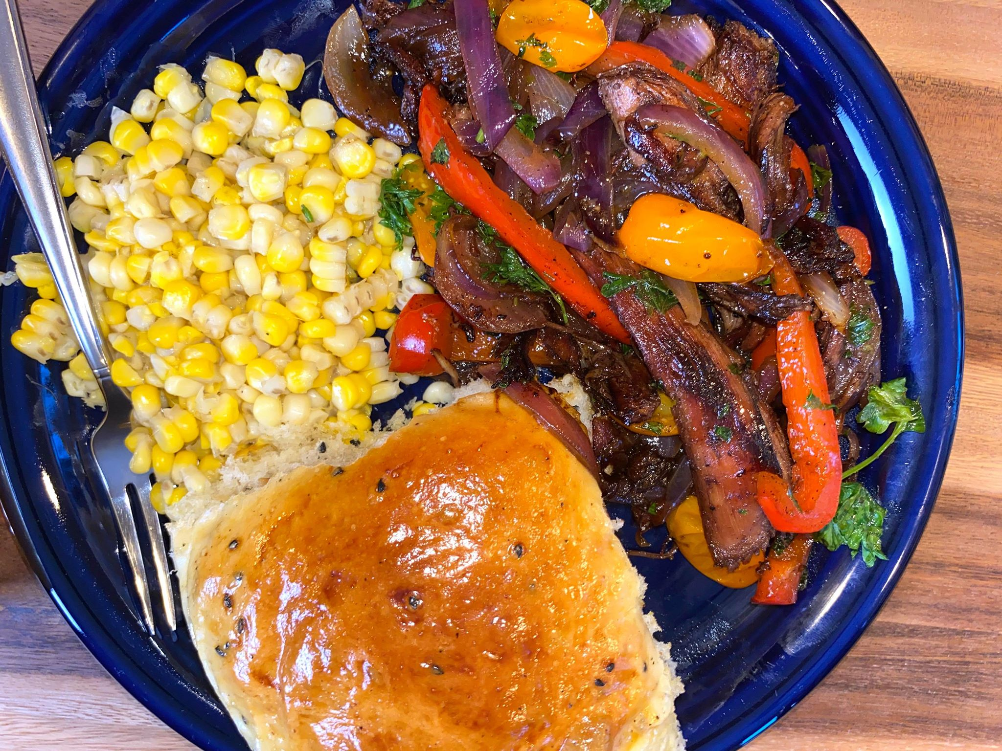 Roasted tibs with side corn and freshle