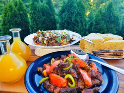 party feast, tibs and veggie dish