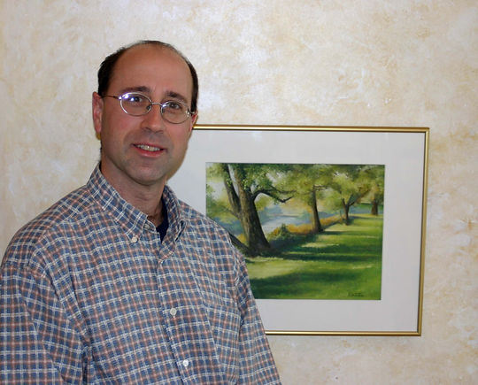 Bob Palmerton with Gallup Park, Ann Arbor pastel painting