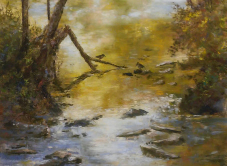 "Pastel Painting: ""Meeting at Mill Pond"""