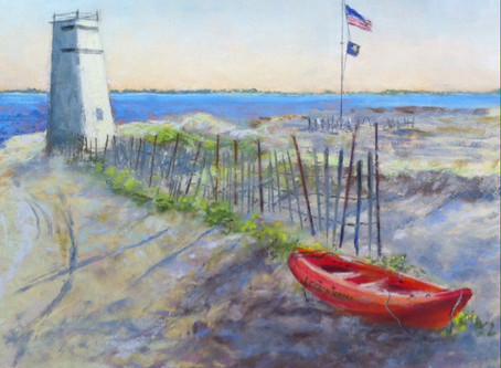 Pastel Painting: Ocean Kayak, Breezy Point