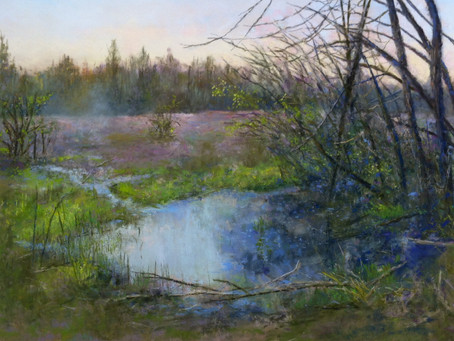 Pastel Painting: Dawn at Marton Pond