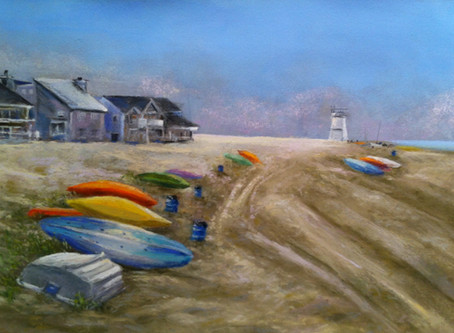 Pastel Painting: Bay Boats at Breezy Point