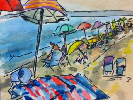 Watercolor Painting: At The Breezy Point Beach