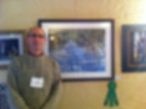 "Bob at Chicago Pastel Painters National Show with hs award-winning ""Ski Tracks."""