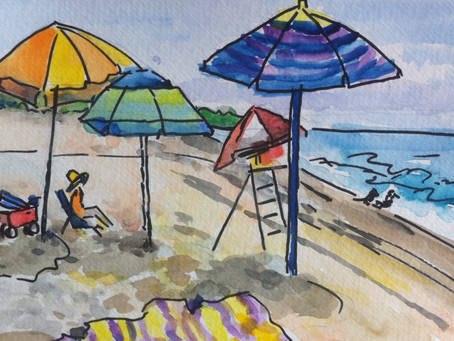 Watercolor Paintings: More Beach Cartoons