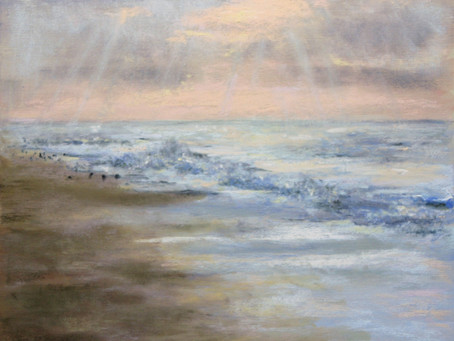 Pastel Painting: Sunrise Surf at Breezy Point