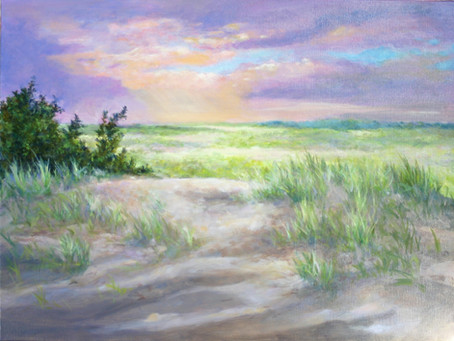 Dunes Sunset at Breezy Point - Oil Painting
