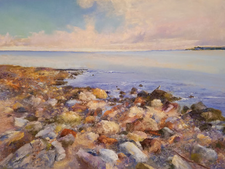 "Pastel Painting: ""Rock Rumba on Glass Beach"""