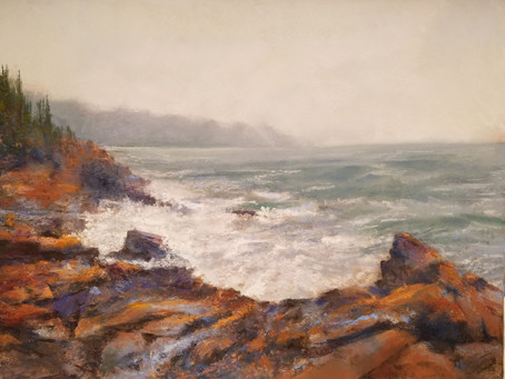 Pastel Painting: Surf's Up at Acadia