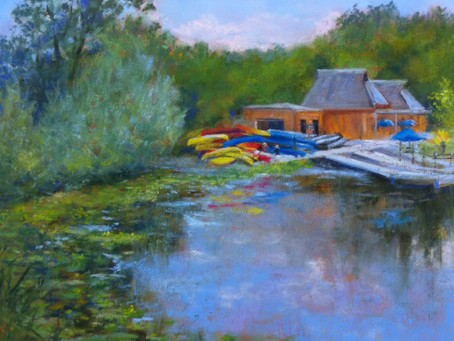 Pastel Painting: Gallup Park Canoe Livery