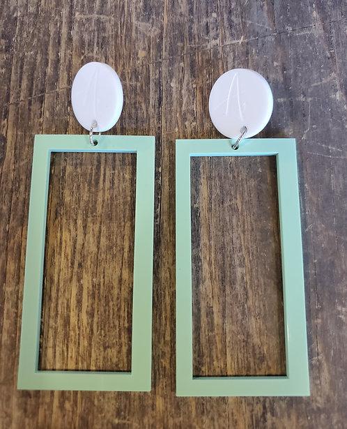 Doudou Zanno - White and mint green rectangles