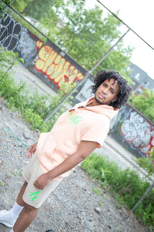 The Peach -  Short sleeve Hoodie & beige shorts : neon green lettering