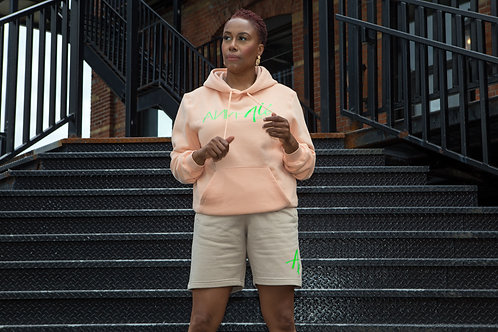 The rosé - Long sleeve hoodie and beige shorts set - Neon green lettering