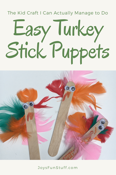 Easy Turkey Stick Puppets: the Kid Craft I Can Actually Manage This Time of Year