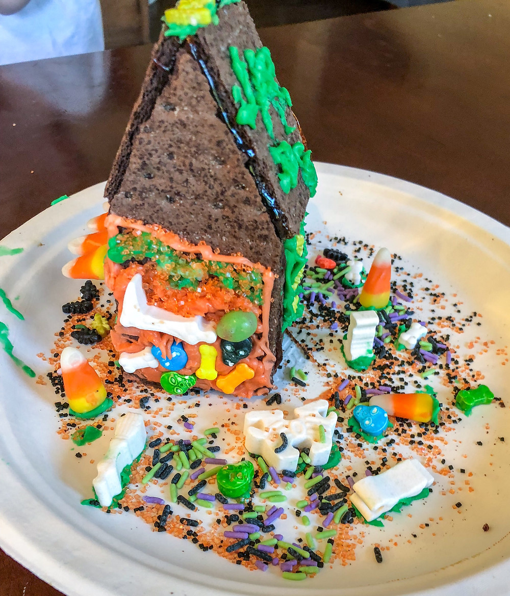 decorated halloween gingerbread house