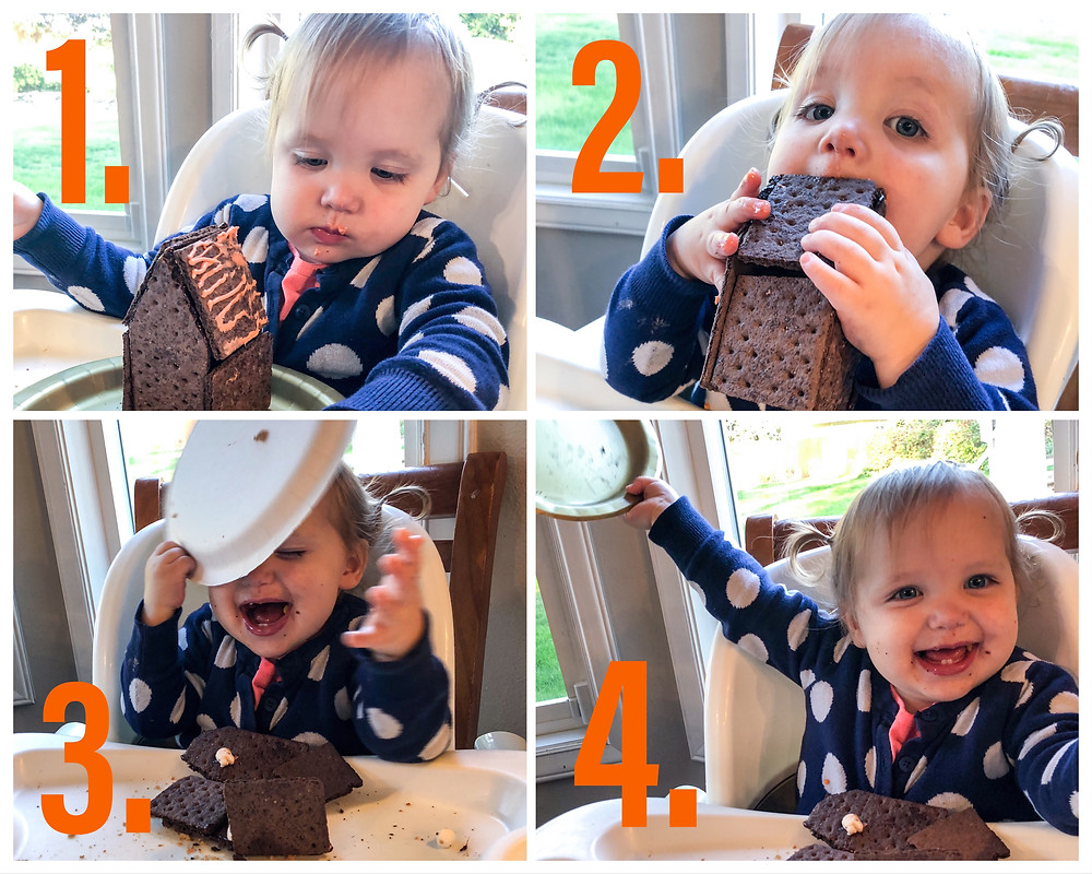 Toddler eating Gingerbread House
