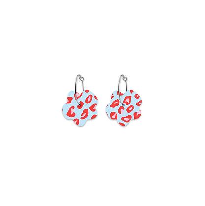 Moe Moe Design - Red Lined Leopard Small Flower Hoop Earrings
