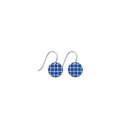 Moe Moe Design - Cool Tones Grid Small Circle Drop Earrings