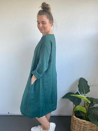 Montaigne Paris - Linen Straight Hem Dress Teal
