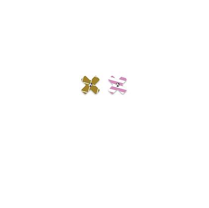 Moe Moe Design - Neutral Grid Lilac Striped Small Cross Stud Earrings