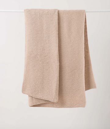 Citta Design Purl Knit Wool Throw - Rice