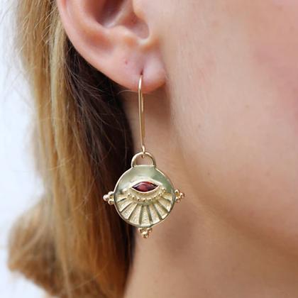 Toni May - Neo Garnet Gold Earrings