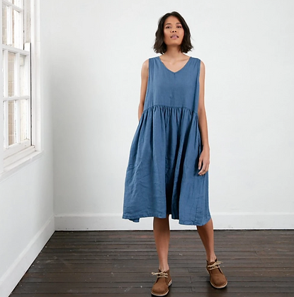 Montaigne Paris - Linen Sleeveless Dress Blue
